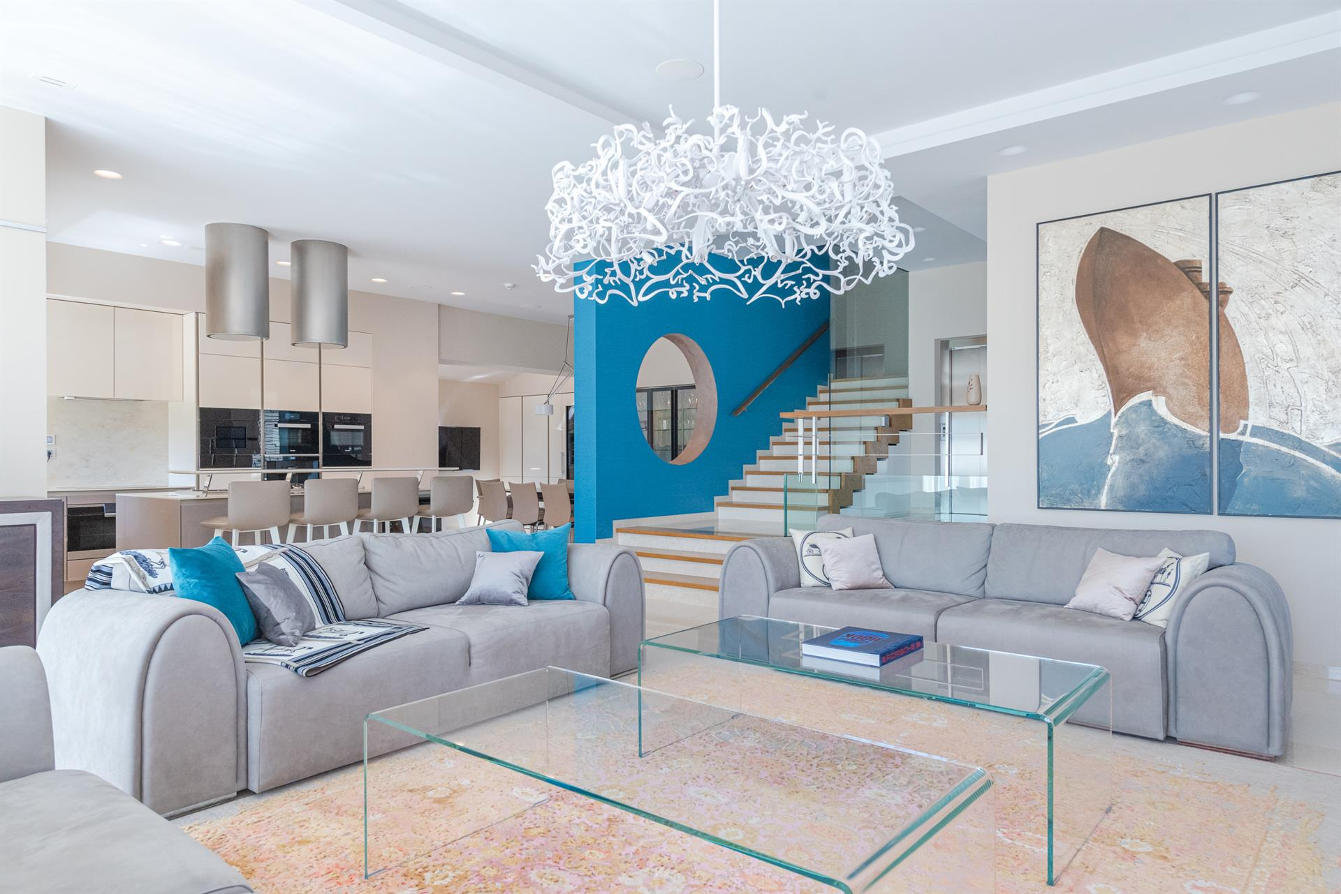 Geometric Villa with Azure Accents